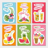 Vector summer party labels set with different tropical illustrations stock illustration