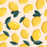 Vector summer pattern with lemons. Seamless texture design. Stock Photo