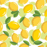 Vector summer pattern with lemons. Seamless texture design. Stock Image