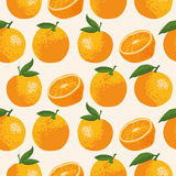 Vector summer pattern with oranges, flowers and leaves. Seamless texture design Stock Photography