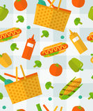 Seamless summer pattern on checkered tablecloth. Vector summer picnic pattern. Colorful seamless pattern on checkered tablecloth. Vegetable, food background Royalty Free Stock Photography