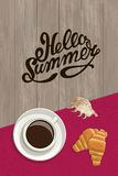 Vector summer postcard with an inscription. Morning coffee composition kruassanany, seashell, text and napkin on wooden background, top view Royalty Free Stock Photos