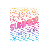Vector summer poster. And banner design in trendy linear style - lettering and icons Stock Photos