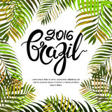 Vector summer poster, banner or invitation card. Brazil 2016 hand drawn calligraphy lettering. Royalty Free Stock Image