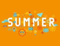 Vector summer poster in flat style Stock Photo