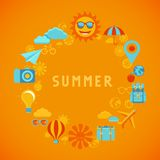 Vector summer poster in flat style Royalty Free Stock Images