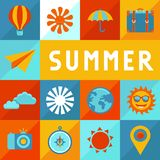 Vector summer poster in flat style Royalty Free Stock Image