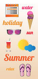Vector summer poster. With the inscriptions. I used free font for commercial use lobster 1.4. There are elements of a summer. Eps format is available Stock Images