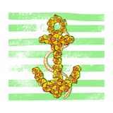 Vector Summer Print Anchor with Flowers Stock Photography