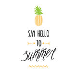 Vector summer print with hand drawn pineapple, lettering design element `Say hello to summer`. Royalty Free Stock Photos