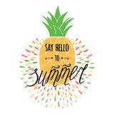 Vector summer print with hand drawn pineapple, text `Say hello to summer`. Stock Images