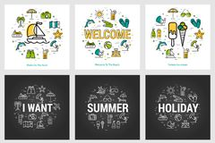 Summer round banners - trip and vacation. Vector summer round banners - trip and vacation concepts, yacht and ice cream at the resort. Three black and white Royalty Free Stock Photos