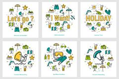 Summer round banners - water activity. Vector summer round banners - water activity, holiday vacation, scuba diving and windsurfing Royalty Free Stock Images