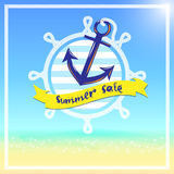 Vector,summer sale with anchor and boat wheel with rope logo   Royalty Free Stock Images