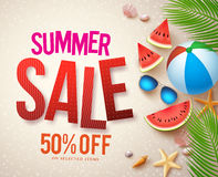 Vector summer sale banner design with red sale text and colorful elements. In beach sand background for shopping discount promotion. Vector illustration Stock Photo