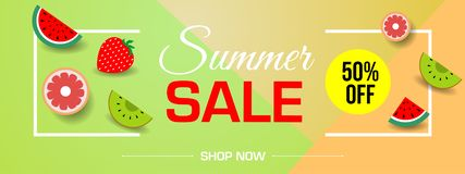 Vector summer sale banner with pieces of ripe fruit on colorful triangle.  stock illustration