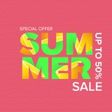 Vector summer sale modern design template web banner or poster. Summer sale label with typographic text on pink. Vector summer sale modern design template banner Royalty Free Stock Photos