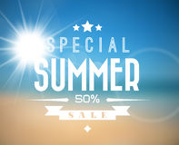 Vector summer sale poster. Vector abstract summer sale poster with beach background Royalty Free Stock Photos