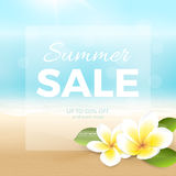 Vector summer sale poster with beach, sea, waves and tropical flowers. Travel background with plumeria, blurred effect for design banner and flyer. File Royalty Free Stock Images
