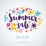 Vector summer sale template with funky hand drawn elements. Can be used for party, birthday, invitations and weddings. Royalty Free Stock Photos