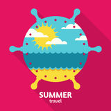 Vector summer sea travel colorful abstract background with place. For text. Blue ocean, sun, clouds and sand beach in steering wheel shape. Flat design Stock Photography