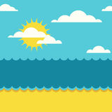Vector summer seamless background. Blue sea, sun, clouds and san Royalty Free Stock Image