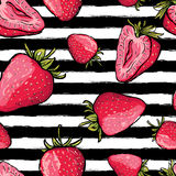 Vector summer seamless pattern. Red strawberries on black and white. Watercolor striped background. Hand drawn juicy berries background. Design for fabric Stock Photos
