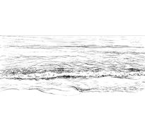Summer seascape sketch. Vector summer seascape sketch. Seaside view and beach royalty free illustration