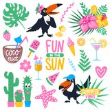 Vector summer set with cartoon toucan, monstera, tropical leaves. Coconut, ice cream, pineapple, cocktails, fish, exotic flowers. Bright summer stickers Royalty Free Stock Photo