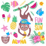 Vector summer set with funny monkey, tropical leaves and flowers. Coconut, ice cream, cocktails, fish, watermelon, pineapple. Trendy summer stickers collection Royalty Free Stock Photography