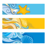 Vector summer set with horizontal banner in dotwork style. Abstract dotted waves, seashell, starfish, pebble, swirls isolated. Royalty Free Stock Photography