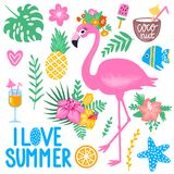 Vector summer set with pink flamingo, monstera leaf, tropical leaves flowers. Ice cream, cocktails, fish, pineapple, coconut. Bright stickers collection Royalty Free Stock Images
