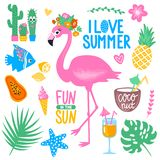 Vector summer set with pink flamingo, monstera, tropical leaves,. Cactus, ice cream, papaya, cocktails, fish, pineapple, coconut. Bright summer stickers Stock Photography