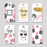 Vector Summer set of sale and gift tags, labels with tropical elements. Hand drawn lettering Royalty Free Stock Photos
