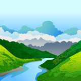Vector summer or spring landscape. Panorama of green mountains, and river. Nature background. Royalty Free Stock Image
