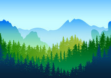 Vector summer or spring landscape. Panorama of mountains, green pine and fir-tree forest. Nature horizontal seamless background. Evergreen trees. Design for royalty free illustration