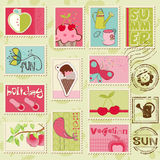 Vector summer stamps. Set of beautiful summer-related rubber stamps Stock Photos