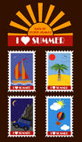 Vector Summer stamps. Pack of vector summer postage stamps including illustrations of yacht, ocean, palm, desert, car, mountains, air-balloon and sky Royalty Free Stock Photo