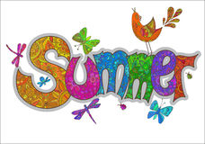 Vector summer text with flowers, dragonflies, beetles, bird and Stock Photos