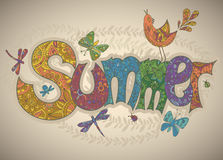 Vector summer text with flowers, dragonflies, beetles, bird and Royalty Free Stock Photo