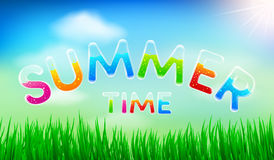 Vector of Summer Time Background by Colorful Transparent font Stock Images