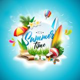 Vector Summer Time Holiday typographic illustration on vintage wood background. Tropical plants, flower, beach ball Stock Photo