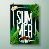 Vector Summer Time Holiday typographic illustration on palm leaves background. Tropical plants and flowers. Stock Image