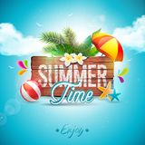 Vector Summer Time Holiday typographic illustration on vintage wood background. Tropical plants, flower, beach ball and Royalty Free Stock Image