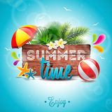 Vector Summer Time Holiday typographic illustration on vintage wood background. Stock Image