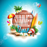 Vector Summer Time Holiday typographic illustration on vintage wood background. Tropical plants, flower, beach ball and sunshade. Royalty Free Stock Photos