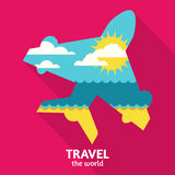 Vector summer travel colorful abstract background with place for. Text. Blue sea, sun, clouds and sand beach in airplane symbol shape. Flat design illustration Stock Photo