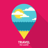 Vector summer travel colorful abstract background with place for. Text. Blue sea, sun, clouds and sand beach in waypoint symbol shape. Flat design illustration Royalty Free Stock Photos