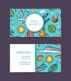 Vector summer travel elements business card. Vector hand drawn summer travel elements business card template for travelling agency illustration vector illustration