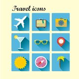 Vector summer travel icons. Flat design trend. Royalty Free Stock Image